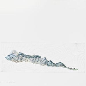 Schnapfenlochspitze, Collage mit Bleistiftzeichnung aus Schweizer Bergkarte